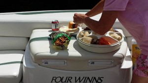 Delicious lunch on Ian's boat