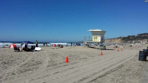 View from the La Jolla Shores lifeguard tower north towards Scripps Pier.
