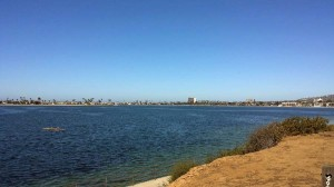 View from Riviera Drive across west Mission Bay towards Pacific Beach.