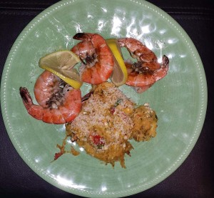 Grilled shrimp with spaghetti squash casserole
