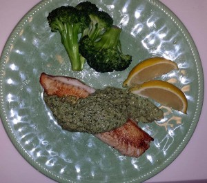 Tilapia with cilantro-walnut pesto
