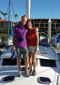 Mark and Emily Fagan aboard their Hunter 44 sailboat