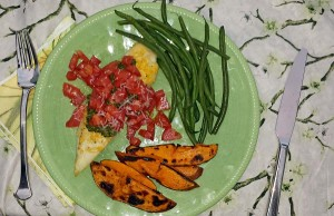 tilapia with grilled sweet potato and green beans