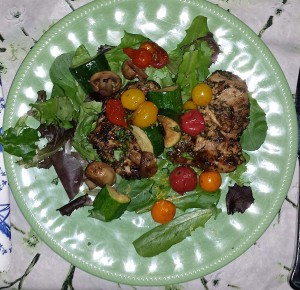 Morrocan spiced chicken with grilled veggies served cold over salad