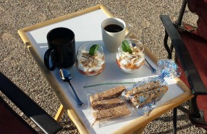 Breakfast in the desert - parfait, biscotti and coffee