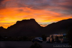 Sunset last evening by Mark Fagan. His exposure shows our little gathering outside our coach