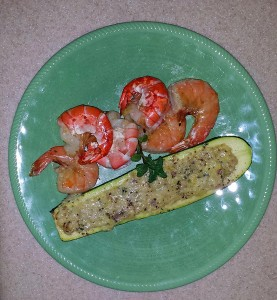 Grilled shrimp and zucchini boat