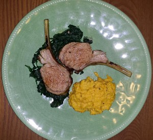 Lamb chops with vanilla whipped sweet potatoes