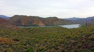 Scenic overlook of Canyon Lake on the way to Tortilla Flat