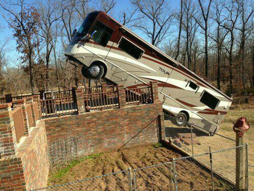 Rv mishaps flying the koop for Rv with roof deck