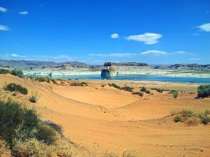 Sand dunes and Lone Rock