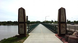 Bridge on bike path across the Missouri River