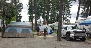 Tent camping in the RV park