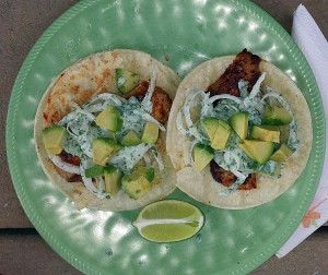 Blackened Baja fish tacos