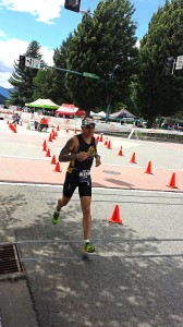 Allen begins the third leg of the Ironman, a marathon run