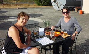 Donna enjoyed a hefe while Alana tried a sample flight
