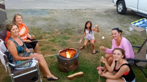 Donna, Andrea, Gabi, Alana and Lainey with S'mores around the fire