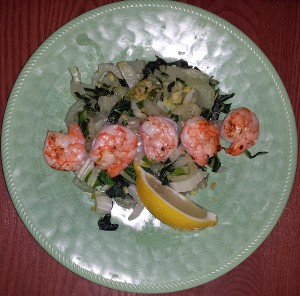 Grilled shrimp over bok choy with ginger