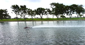 Sport hydro RC boat skimming past at 60mph