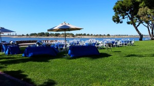 Setting up lunch behind the Hilton Hotel - Fiesta Island is across the bay