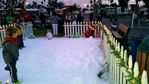 Kids playing in the snow at Mission Bay RV Resort