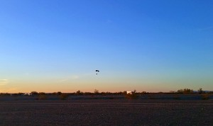 Ultralight aircraft flying by