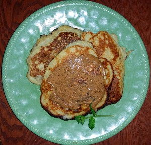Banana pancakes with almond butter
