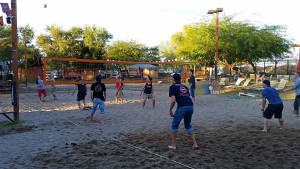 Sand volleyball court at The Monasery