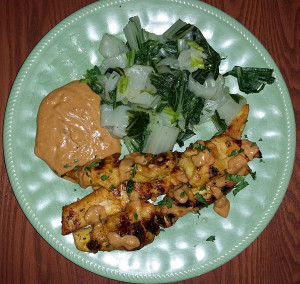 Malaysian chicken satay with peanut sauce and bok choy