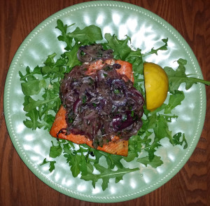 Sockeye salmon with carmelized onions