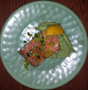 Pan seared salmon with creamy avocado cauliflower mash