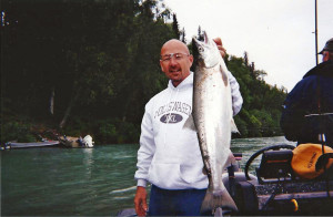 Me with a silver (coho) salmon on the Kenai