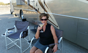 Donna enjoying a Holland Razor Blade in the shade