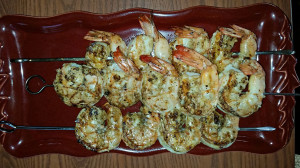 Skewered shrimp hot off the grill