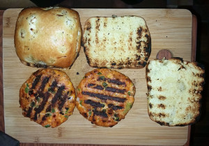 Jalapeno salmon burgers and toasted onion chiabatta rolls hot off the grill