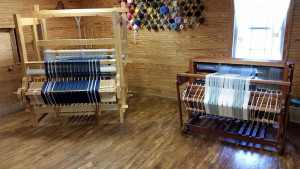 Two of the looms in the weaving room