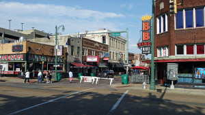 2nd and Beale - BB King's Club on the right, Blues City Cafe on the left