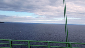 Donna's view of Lake Michigan to west from from the Mackinac Bridge