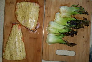 Trout filets and bok choy hot off the grill