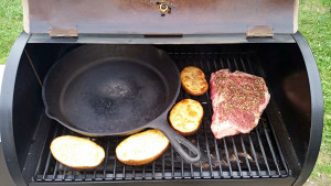 Cast iron skillet, potatoes and steak