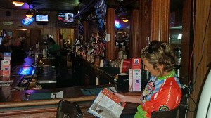 Donna waiting for lunch at the bar