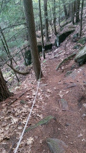 Steeper than it looks - ropes for handholds