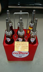 Old motor oil containers