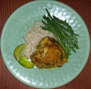 Turmeric chicken with brown jasmine rice and asparagus