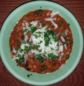 Turkey burger chili with cheddar and cilantro