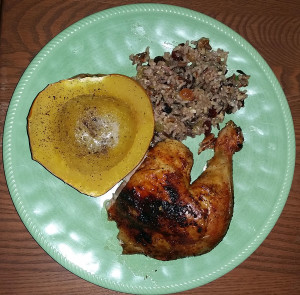 Roasted chicken, acorn squash and rice