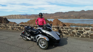 Donna and the Can AM Spyder at a scenic overlook
