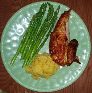 Traeger roasted chicken with asparagus and acorn squash