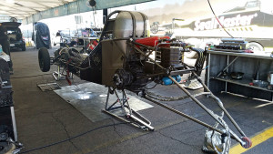 Funny car chassis - wheelie bar on the rear