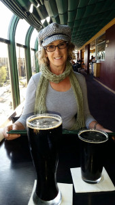 Donna at the Barley Brothers Brewery with stout